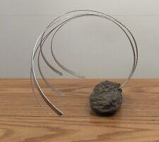 Vintage modernist brutalist metal/stone sculpture wave