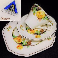 Wedgwood 1936+ Kent Yellow Roses Square English Vintage Bone China Trio Set