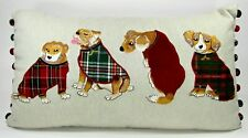 Pier 1 Imports Dog Tapestry Tartan Plaid Pillow Decorative Christmas 24 Lumbar
