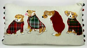 Pier 1 Imports Embroidered Dog Tapestry Plaid Decorative Lumbar Throw Pillow