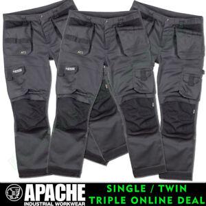 Apache ATS Work Trousers Grey / Black 3D Flex Stretch Straight Leg ALL SIZES