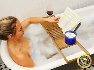 Bath Tray Caddy Bamboo Bathtub Organiser Wine Tablet Holder Adjustable with Rack