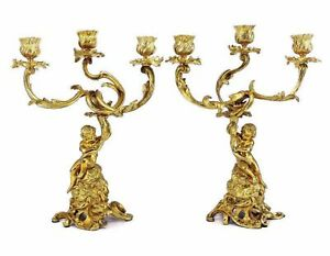 Pair French Antique Gilt Bronze Angels or Putti Candelabra Chandeliers 19th C