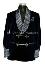 Men Elegant Luxury Designer Navy Blue Quilted Smoking Jacket Party Wear Blazer