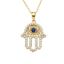 Solid Gold Chic Blue Sapphire Hamsa Pendant Necklace (Yellow White Rose)