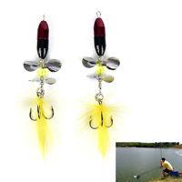 2x / Lot longue Spinner Bait Metal pêche leurre w / double queue hél.FR
