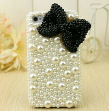High Quality Pearl Rhinestone Black Bow Hard Back Cover Case for iPhone 5 5s