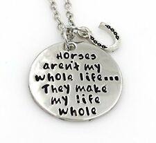 BRAND NEW IN BAG HORSES MAKE MY LIFE WHOLE NECKLACE SILVER CHAIN WITH HORSESHOE