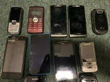 Lot of 10 used phones for parts or non working, untested, as per list below.