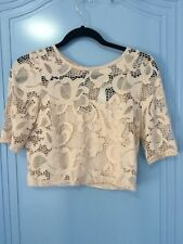 Forever New Annalise lace crew neck top nude shimmer size XS