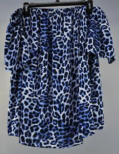 Vince Camuto Short Sleeve Leopard Song Top Nile Blue