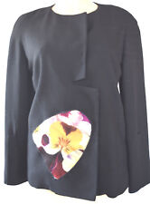 CHRISTOPHER KANE BLACK WOOL CREW NECK FRONT FLORAL APPLIQUE LONG SLEEVES COAT 44
