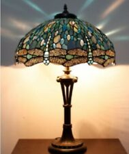Tiffany Style Table Lamp Stained Glass Handcrafted Shade Desk Light 18inch Lamps