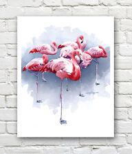 """FLAMINGOS"" Watercolor Wildlife ART Print Signed by Artist DJR"