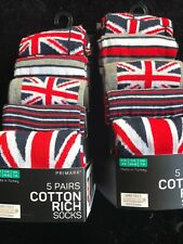Men's Socks 10pk British England Flag Union Jack Cotton Rich Sz 6-8 PRIMARK NEw