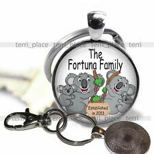 """Personalized Gift Family Name & Year Established 1"""" Pendant Key Chain Glass Top"""