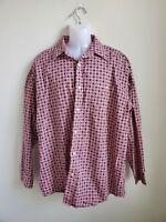 Used Wrangler Men's Pink Geometric Button Down Shirt Size XL 100% Cotton