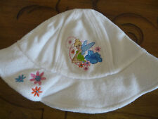 DISNEY GIRL'S TINKERBELL SUN HAT EMBROIDERED TERRYCLOTH FOR COMFORT SIZE S/M