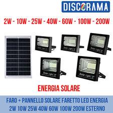 FARO + PANNELLO SOLARE FARETTO LED ENERGIA 2W 10W 25W 40W 60W 100W 200W ESTERNO