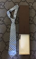 100% LOUIS VUITTON CLASSIQUE DAMIER TIE BABY BLUE RARE COLOR IN BOX