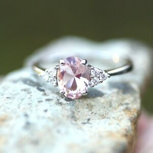 Created Pink Morganite Ring Solid Sterling Silver 925 , May birthstone