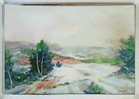 Snow Country Landscape Oil Painting Vintage Mountains Winter Modernist Signed