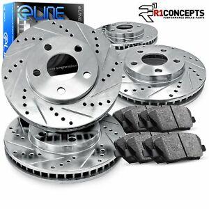 For 2011-2012 Jaguar XF Front Rear eLine Drill Slot Brake Rotors+Semi-Met Pads