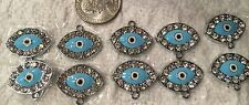 Charms-Silvertone EVIL EYE-Jewish-Hasma-Crystal Pendant-Jewelry Blue w/Clear x10