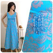 Vintage Berkertex 1960s Floral Maxi Beaded Evening Cotton Dress 60s 6 8 34 36
