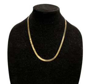 10K Yellow Gold Chain Thin Flat Shiny Necklace 8.8 Grams 22 Inches GX Jewelry
