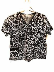 Zebra Animal Print Scrub Top 1X Black & White NEW Bobbie Brooks Womens