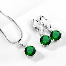 Elegant Style Round Emerald Gems Silver Earrings Necklaces Gift for mother