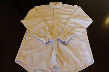 Jos.A.Bank Traveler Collection Blue White Stripe LS Button Up Shirt Men Sz16.5