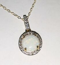 New 10k yellow gold created opal white topaz pendant necklace 1.9g estate