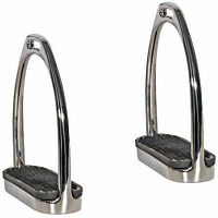 "English Saddle Horse Stirrup Irons Stirrups 4.25"" or 4.5"" or 4.75"" w/ Black Pads"