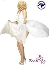 Deluxe Marilyn Monroe Sexy Pleated White Dress Halter Size 10-14 AU