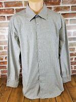 BUGATCHI UOMO Mens Gray Striped Button Up Shirt Long Sleeve Dress Shirt Size XL