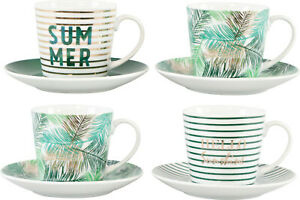 "Tassen-Set "" Hello Sommer"" 4 tlg Set Porzellan Kaffeetassen Unterteller Dschunge"
