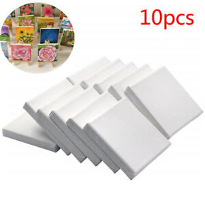 10pcs 4'' Blank White Small Stretched Artist Canvas Art Board Oil Paint