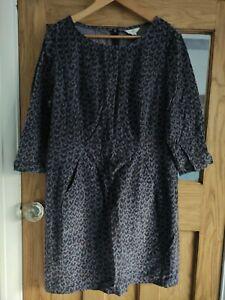 Boden Needle Cord Shift Dress Pockets Vgc 16 Grey shaped fit