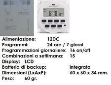 TIMER DIGITALE SETTIMANALE 12V SVARIATI USI CASA HOBBY CACCIA SOLARE 16 PROGRAMM