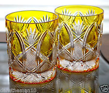 AJKA FABERGE IMPERIAL CZAR WHISKEY ROCKS DOF GLASSES YELLOW GOLD CASED CRYSTAL