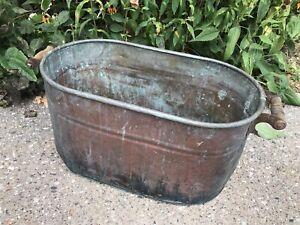Antique ROME Copper Boiler Wash Tub Pot w/Wood Handles Art Storage Props Garden