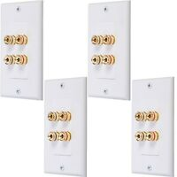 4 Pack Lot - 2 Speakers Binding Post Banana Wall Face Plate Home Theater White