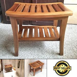 Teak Wood Stool Bathroom Shower Bench Sauna with Shelf Spa Bath Elderly Seat New