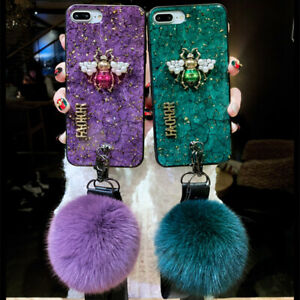 Fashion Hybrid Marbled Hairball bee case phone cover with lanyard For Huawei