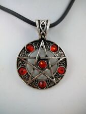 "Pentacle w/Red Pendant 18"" Rubber Cord Witchcraft Wiccan Pagan Mystical Magick"