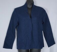 Eileen Fisher Navy Blue Snap Front Boiled 100% Wool Knit Cardigan Jacket Large