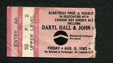 1983 Daryl Hall & John Oates concert ticket stub Portland H2O Maneater