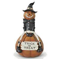 9 Inch Resin Trick or Treat Pumpkin Man on Pumpkin  /Fall/Halloween Vintage Look
